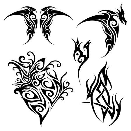 Vector Set of Tribal Tattoo. Patterned design Векторная Иллюстрация