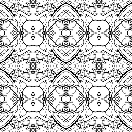 Vector Monochrome Abstract Pattern. Decorative Seamless Background. For Coloring