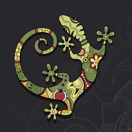 Vector Tribal Decorative Lizard. Patterned Design, Tattoo