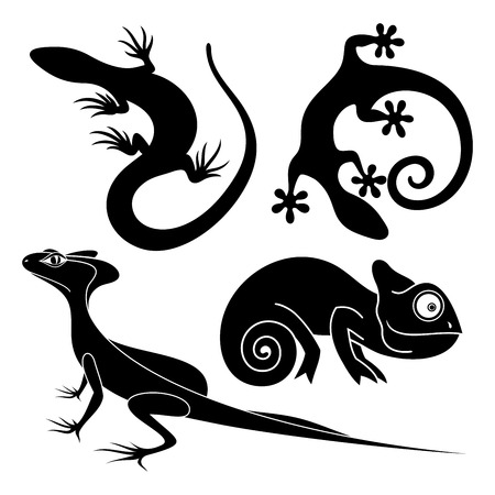 Vector Set Tribal Decorative Lizard. Patterned Design, Tattoo Illustration