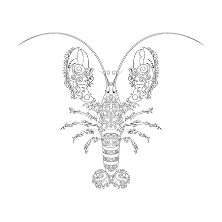 Vector Tribal Decorative Lobster. Isolated Animal On White Background Illustration