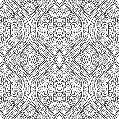 Vektor-monochromes abstraktes Muster. Dekorativer nahtloser Hintergrund. Zum Färben