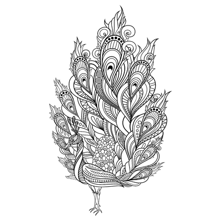 Vector Tribal Decorative Peacock. Isolated Bird On Transparent Background