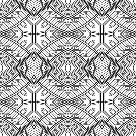 Vector Monochrome Abstract Pattern. Decorative Seamless Background. For Coloring Illustration