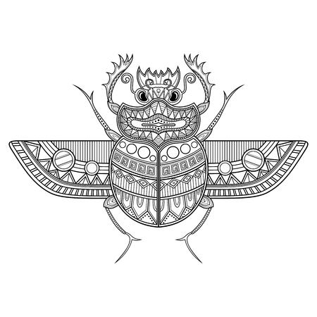 Vector Scarab Beetle. Ancient Egypt Illustration