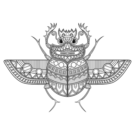 Vector Scarab Beetle. Ancient Egypt  イラスト・ベクター素材