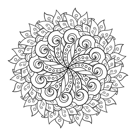 Vector Monochrome Mandala. Ethnic Decorative Element. Round Abstract Object Isolated On White Background