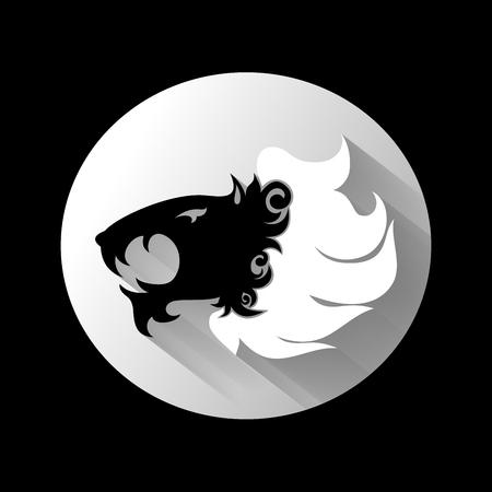 Vector Logo Lion Head with White Mane. Patterned design Reklamní fotografie - 122127598