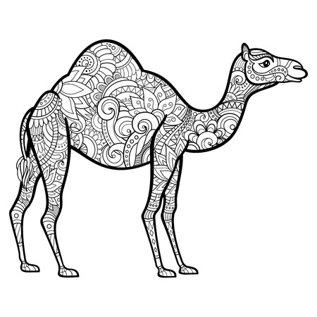 Camello decorativo tribal del vector. Diseño estampado