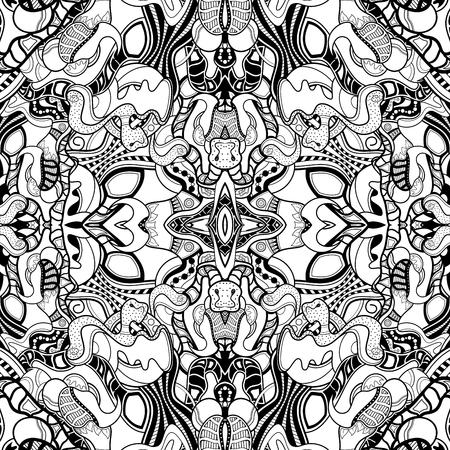 Kaléidoscope monochrome sans soudure de vecteur. Arrière-plan transparent décoratif. Pour colorier Vecteurs