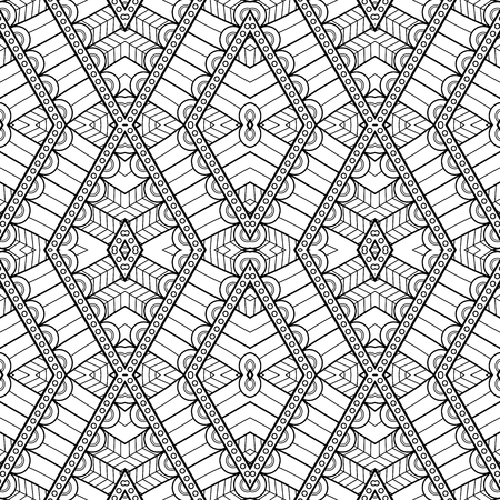 Vector Monochrome Abstract Pattern. Decorative Seamless Background. For Coloring 向量圖像