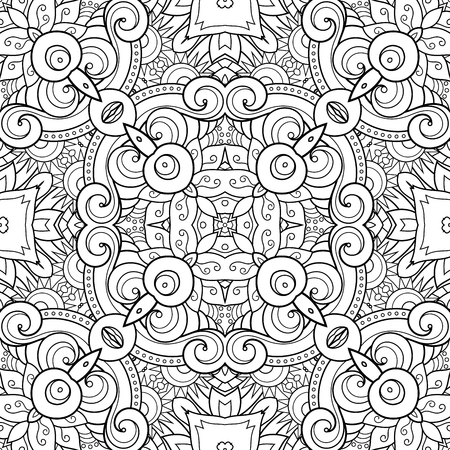 Vector Seamless Monochrome Kaleidoscope. Decorative Seamless Background. For coloring Ilustração