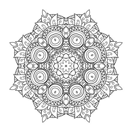 Mandala monocromatica vettoriale. Elemento decorativo etnico. Oggetto astratto rotondo isolato su sfondo bianco