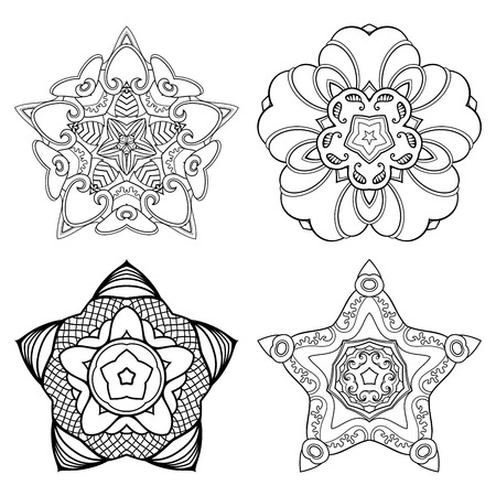 Vector Monochrome Set of Stars. Four Abstract Objects Isolated On White Background. Ethnic Decorative Element