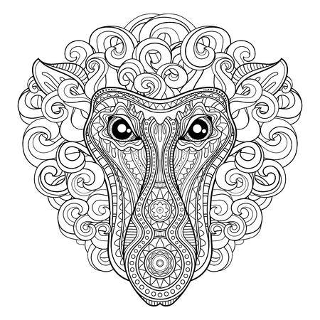 Vector Tribal Decorative Proboscis. Isolated Animal On White Background Иллюстрация