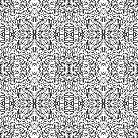 Vector Monochrome Abstract Simple Pattern. Decorative Seamless Background. For Coloring