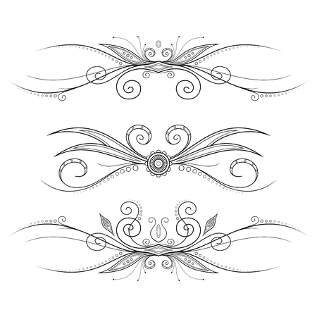 Set of Design Elements for Page Border. Frames and Scroll Elements Illustration