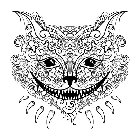 Vector Decorative Cheshire Cat. Isolated Fictitious Animal On White Background