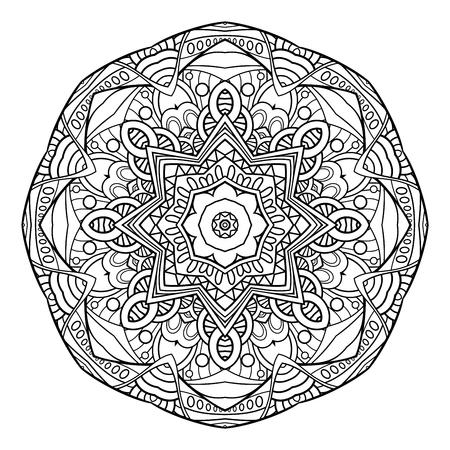 Vector Monochrome Mandala. Ethnic Decorative Element. Round Abstract Object Isolated On White Background Vettoriali