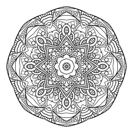 Vector Monochrome Mandala. Ethnic Decorative Element. Round Abstract Object Isolated On White Background 矢量图像
