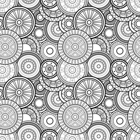 Vector Seamless Monochrome Circles Pattern. Design Elements. Hand Drawn Texture Ilustrace