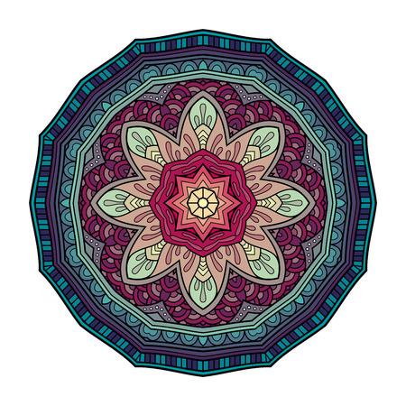 Vector Beautiful Mandala. Circle Abstract Object Isolated On White Background. Ethnic Decorative Round Element Illustration