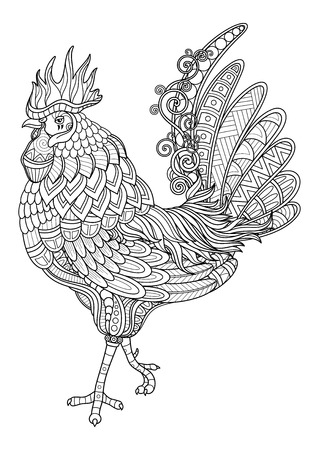 Vector Tribal Decorative Cock. Year of Fire Rooster. Isolated Bird On White Background