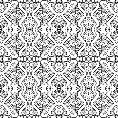 Vector Monochrome Abstract Simple Pattern. Decorative Seamless Background. For Coloring Stock Vector - 100281614
