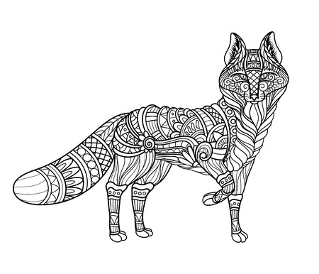 Vector Monochrome Tribal Decorative Red Fox. Isolated Animal On White Background