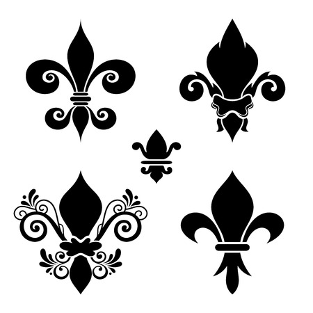 Vector Ink Set of Fleur-De-Lis. Beautiful Elements. Silhouette Heraldic Lily. Objects Isolated On White Background  イラスト・ベクター素材