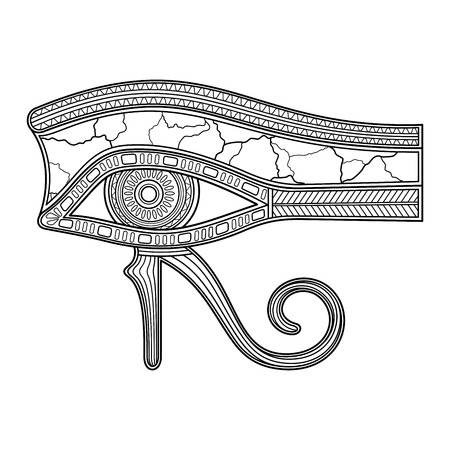 Vector Eye of Horus (All-Seeing Eye Wadjet, Udjat) In Linear Style. Left Eye Represents Moon Osiris. Reconstructed Eye. Amulet In Dead For Dead. Resurrection After Death