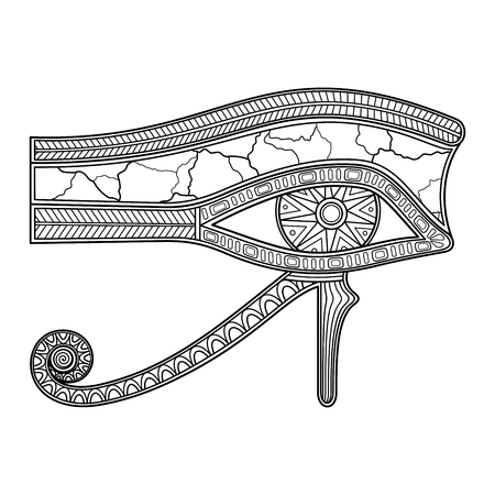 All-Seeing Eye Wadjet, Udjat In Linear Style. Right Eye Represents Sun Ra. Amulet In Eye of Living For Living. Integrity of Creation Illustration