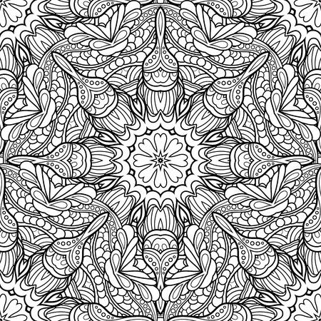 Vector naadloos zwart-wit patroon. Afdrukbare kleurplaten. Hand getrokken decoratieve schalen