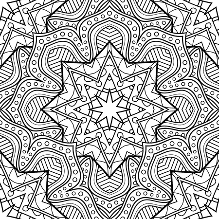 Vector Seamless Monochrome Pattern Printable Coloring Pages
