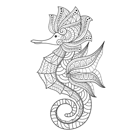 Vector Tribal Decorative Monochrome Seahorse. Isolated Illustration On White Background. Detailed Contour