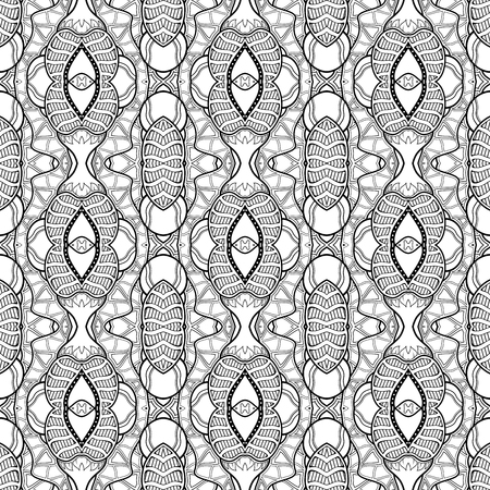 Vector Monochrome Abstract Pattern. Decorative Seamless Background. For Coloring Çizim