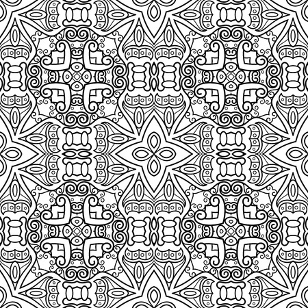 Vector Monochrome Abstract Pattern. Decorative Seamless Background. For Coloring Иллюстрация