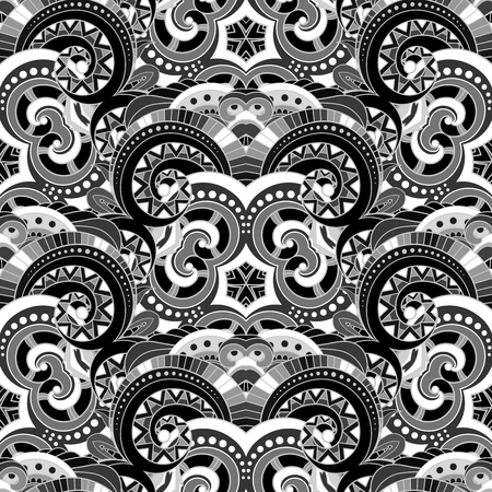 Vector Seamless Ink Pattern. For Your Design. Printable Coloring Pages. Hand Drawn Decorative Scales