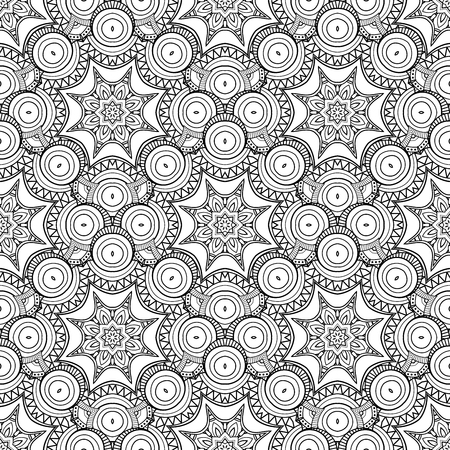 Vector Seamless Monochrome Pattern. Printable Coloring Pages. Hand Drawn Decorative Scales.