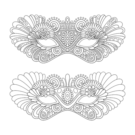 Vector Beautiful Masquerade Masks. Mardi Gras. Object Isolated On White Background Illustration