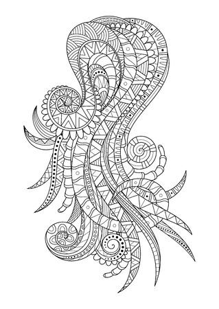 Vector fondo monocromo del sistema radicular. Composición creativa. Ilustración abstracta