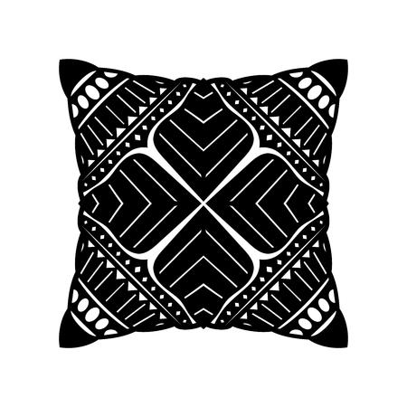 Vector Black Square Pillow. Furniture Design Elements Reklamní fotografie - 121802356