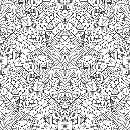 Vector Seamless Monochrome Pattern. Printable Coloring Pages. Hand Drawn Decorative Scales