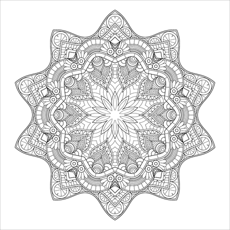 Vector Monochrome Mandala. Ethnic Decorative Element. Round Abstract Object Isolated On White Background Vettoriali