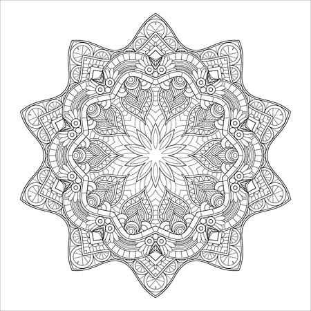 Vector Monochrome Mandala. Ethnic Decorative Element. Round Abstract Object Isolated On White Background Illustration
