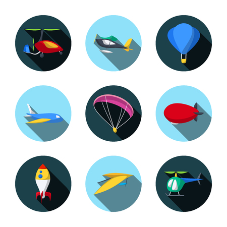 Vector Set of Air Transport Icons. Autogyro. Seaplane. Balloon. Aircraft. Paraglider. Airship. Rocket. Hang-Glider. Helicopter. Flat style Ilustração