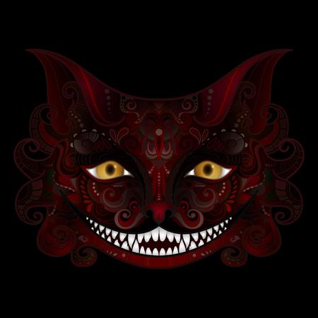 Sorriso del gatto del Cheshire di vettore. Halloween. Giornata di Ognissanti. Animale immaginario isolato su priorità bassa nera