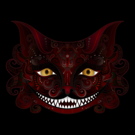 Vector Cheshire Cat Grin. Halloween. All Saints' Day. Isolated Fictional Animal On Black Background