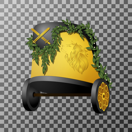 Vector Beautiful Chariot. Object Isolated On Background. Decorative Historic Transport  イラスト・ベクター素材