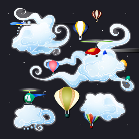 Vector Illustration. Night Flights. Flat style
